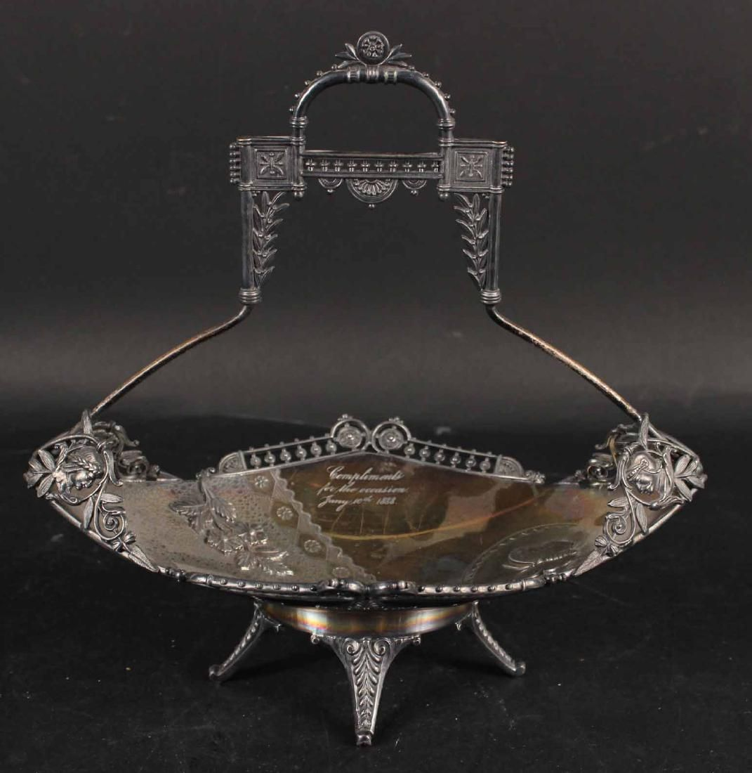 Silver Plated Aesthetic Movement Handled Basket