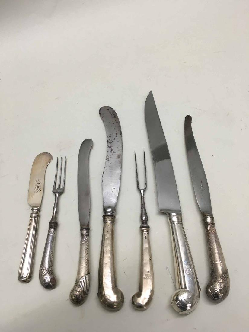 STERLING SILVER AND COIN CARVING KNIVES/FORKS