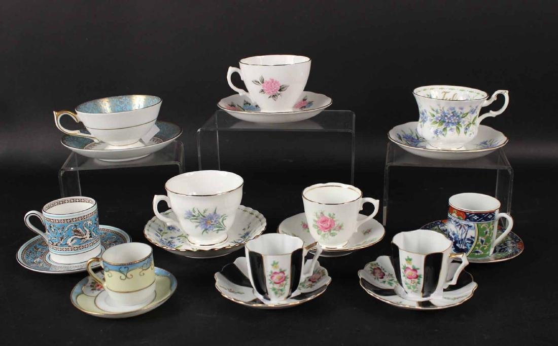 10 ASSORTED CUPS AND SAUCERS