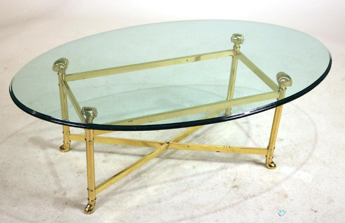 MODERN BRASS AND GLASS LOW TABLE