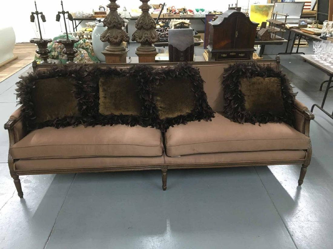 FRENCH COUNTRY BROWN UPHOLSTERED SOFA