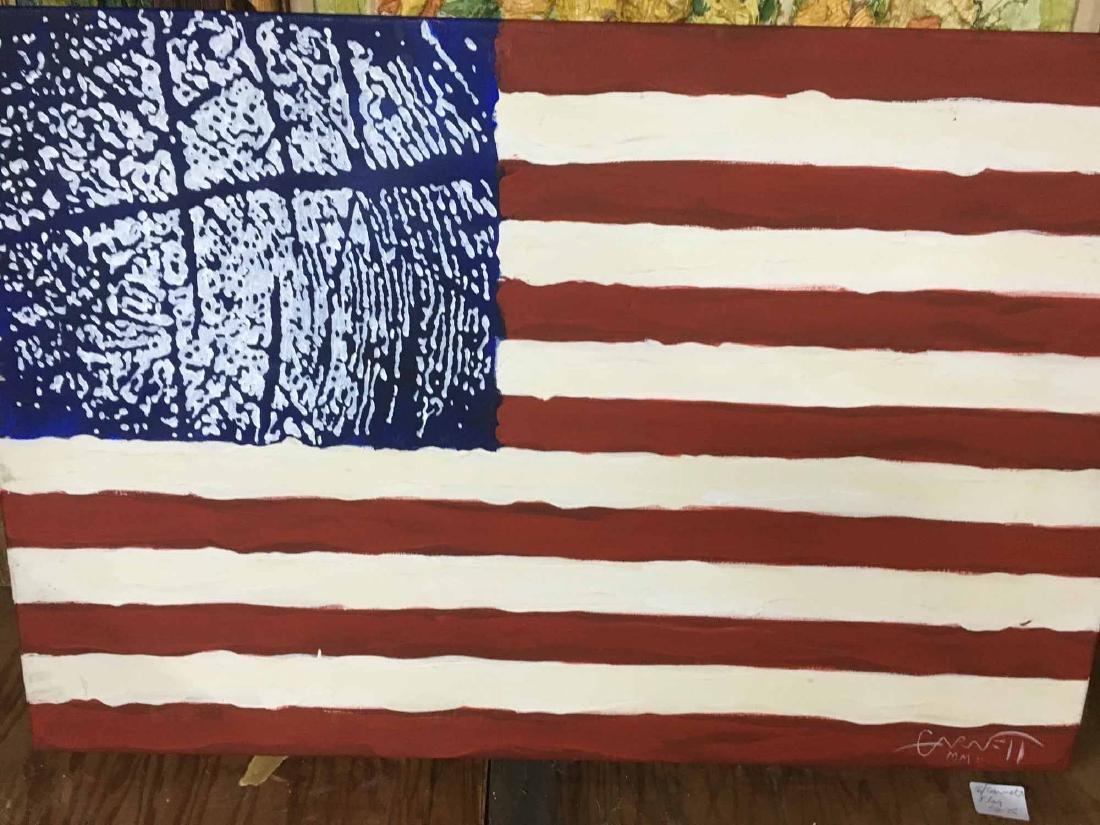 OIL ON CANVAS OF AMERICAN FLAG
