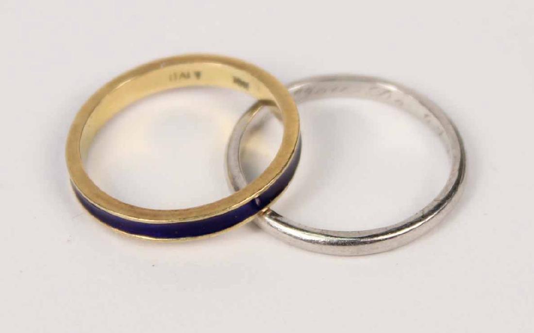 18K Yellow Gold & Blue Enamel Band Ring
