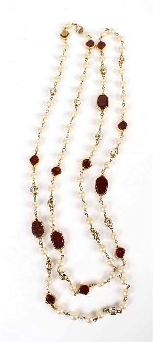 Chanel Pearl Red Glass & Crystal Rope Necklace