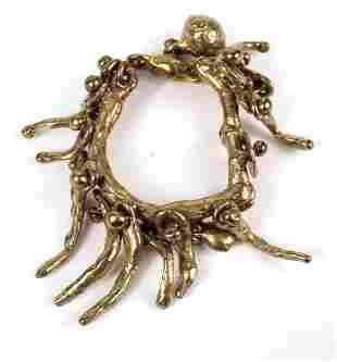 Gold Tone Heavy Brass Modern Studio Bracelet