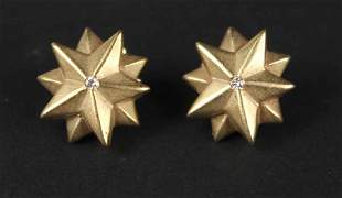 Pair of 14K Yellow Gold Star Form Earrings