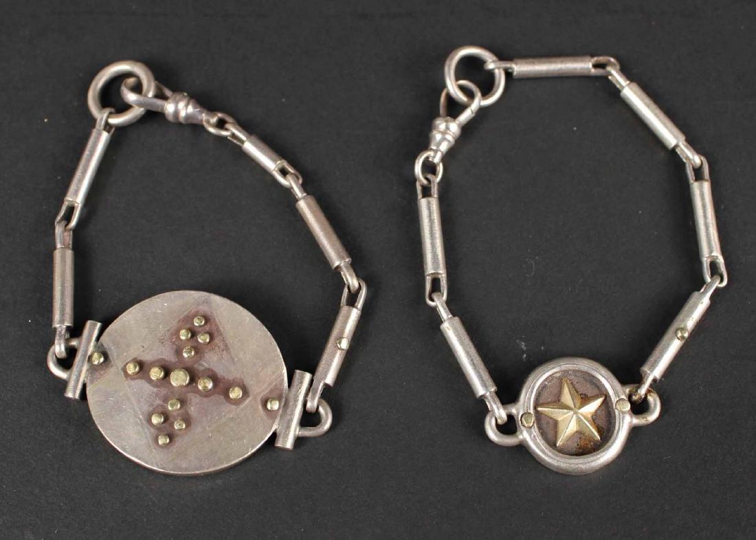Two Sterling Silver 18K Gold Bracelets
