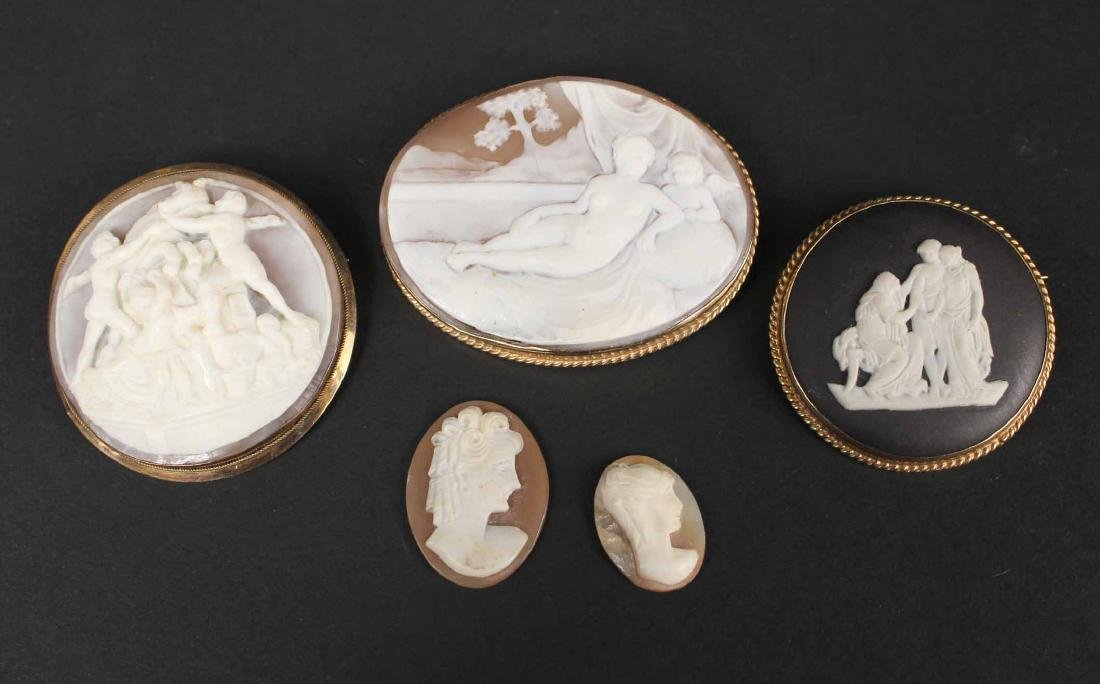 Oval Gold Mounted Carved Shell Cameo Brooch