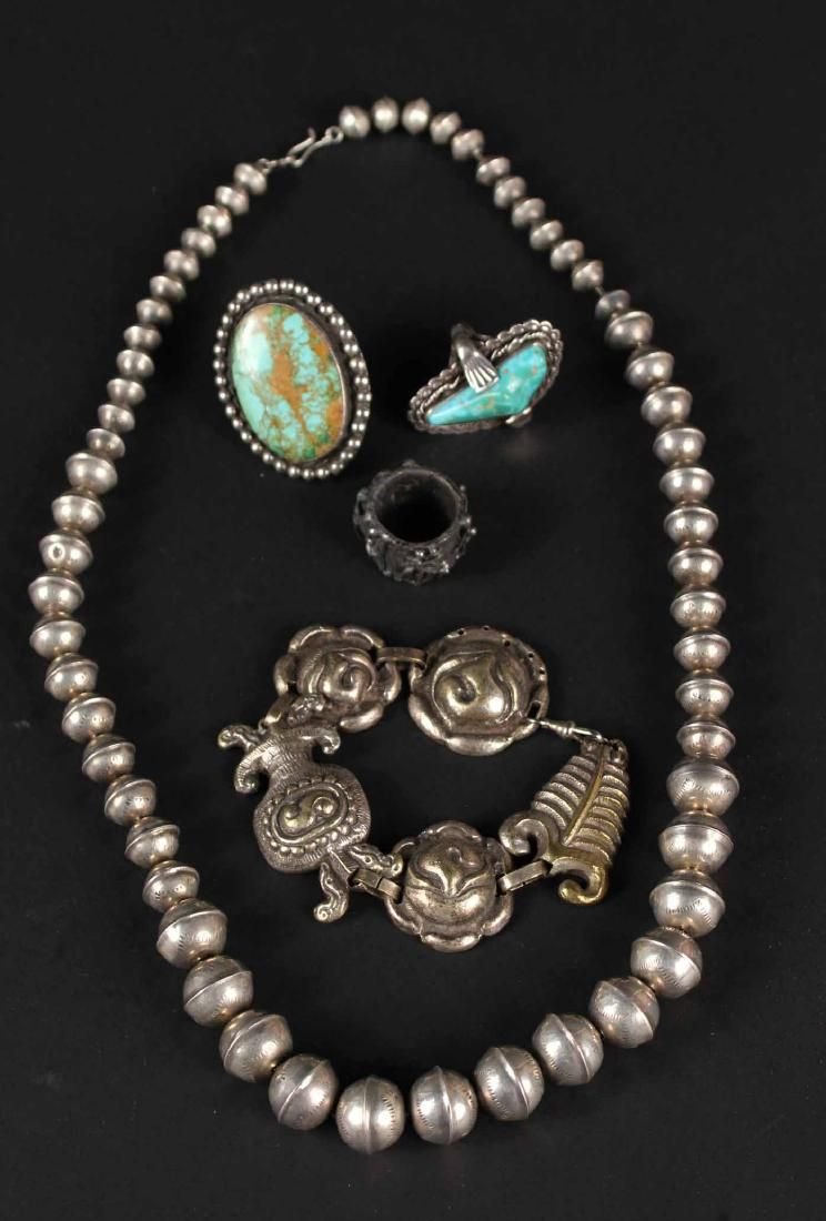 Native American Silver Beaded Necklace