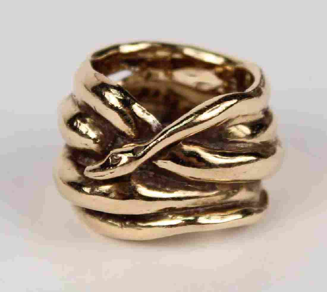 Unmarked Polished Gold Serpent Form Ring