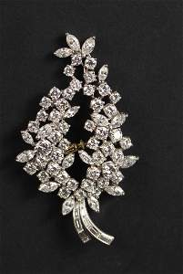 Platinum & Diamond Spray Brooch