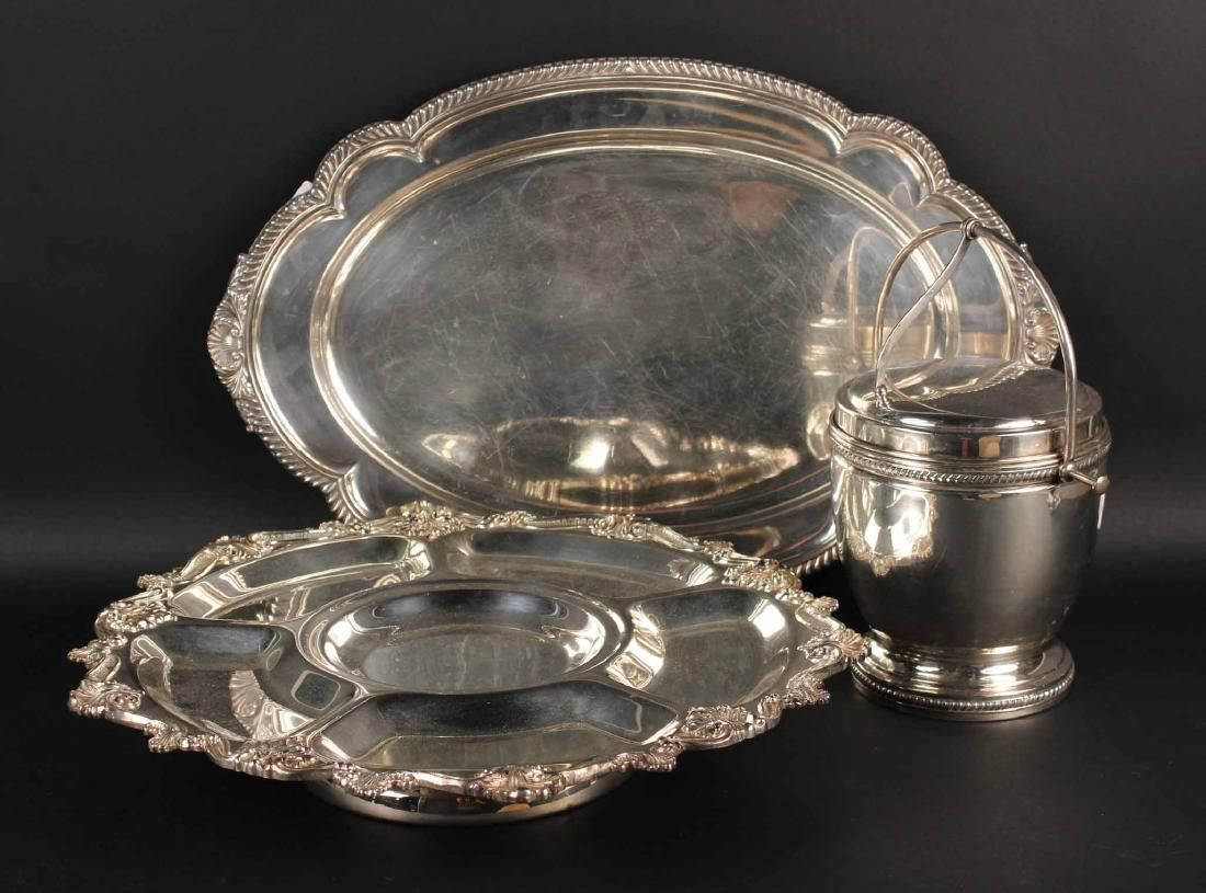 Silver Plated Tray, Lazy Susan, and Ice Bucket