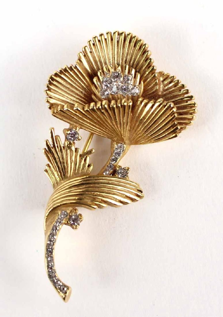 Unmarked Yellow Gold & Diamond Floral Brooch