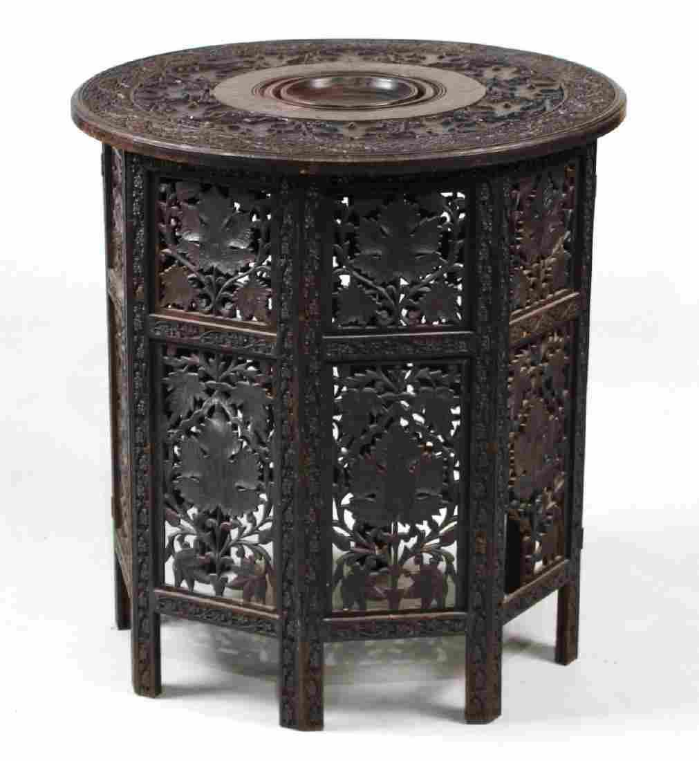 Carved Hardwood Octagonal Side Table