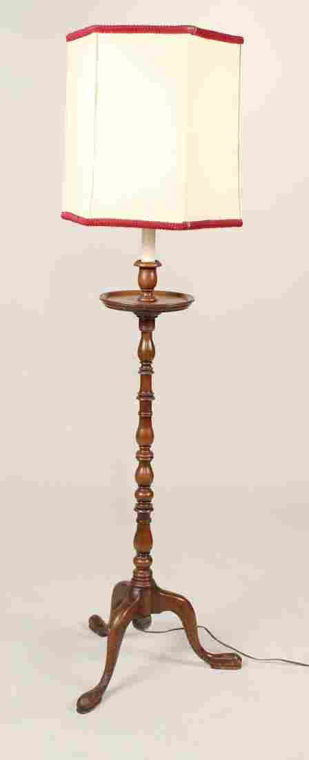George III Style Walnut Floor Lamp