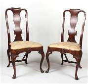 Pair of Dutch Baroque Style Walnut Side Chairs