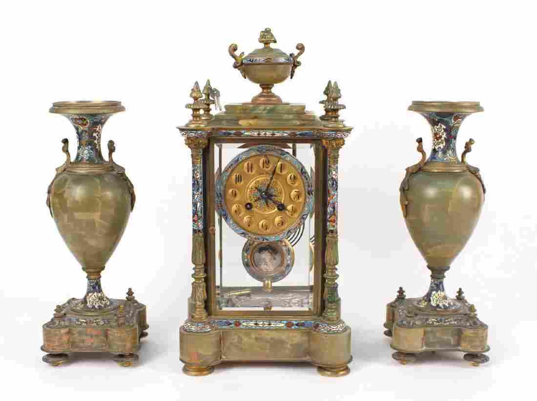 Three Piece Bronze &Cloisonne Clock Garniture Set