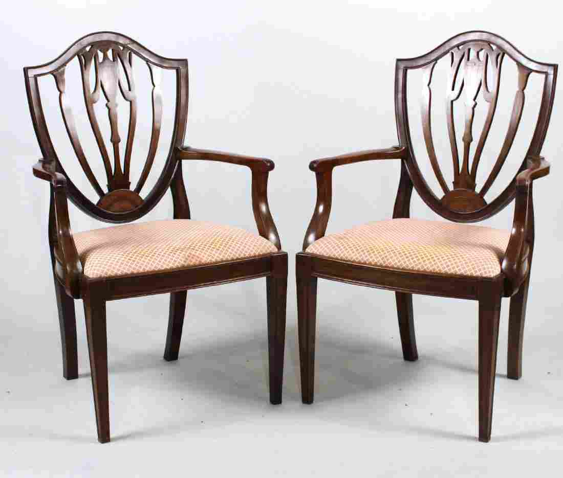 Pair of George III Inlaid Mahogany Armchairs