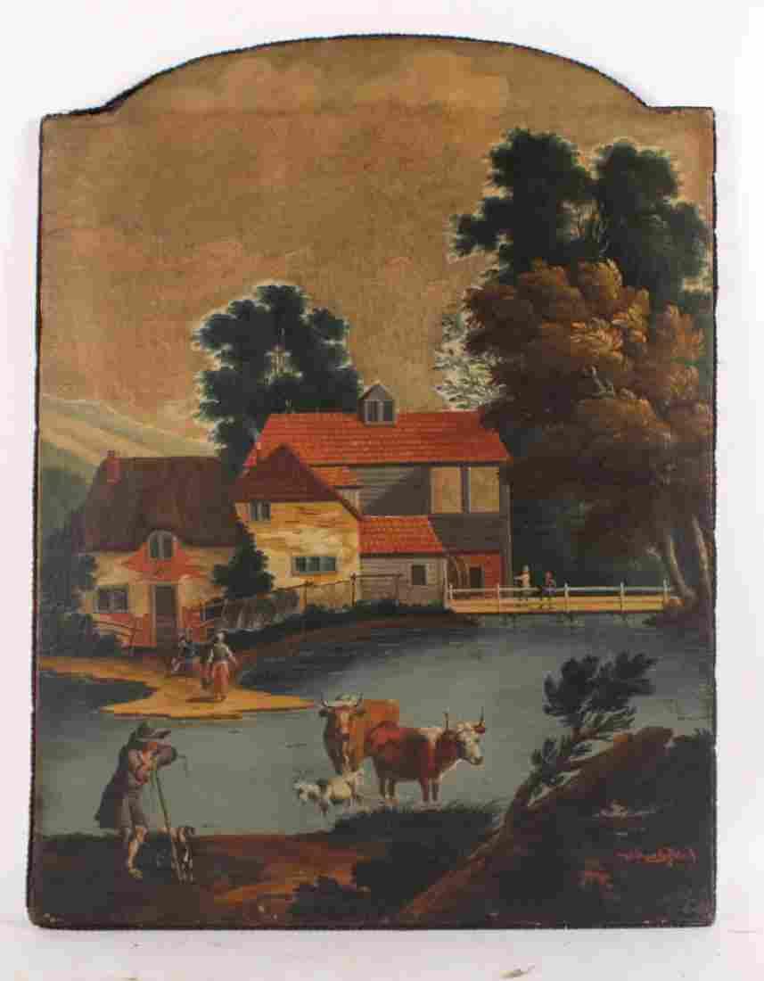 Oil on Canvas, Bucolic Farm Scene