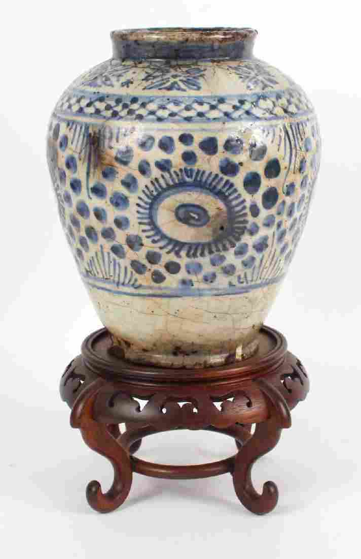Chinese Blue-and-White Glazed Ceramic Vase