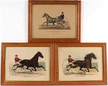 Three Currier  Ives HandColored Lithographs