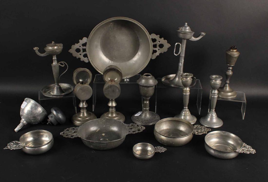 Pewter Porringers, Candlesticks & Fluid Lamps