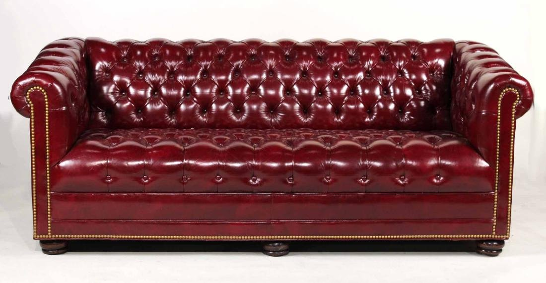 Burgundy Upholstered Chesterfield Sofa