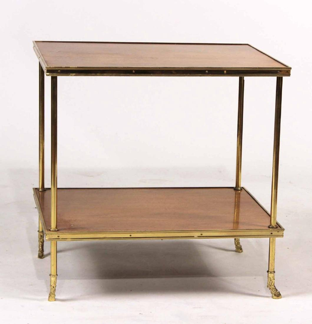 Neoclassical Style Brass&Wood Two Tier Side Table