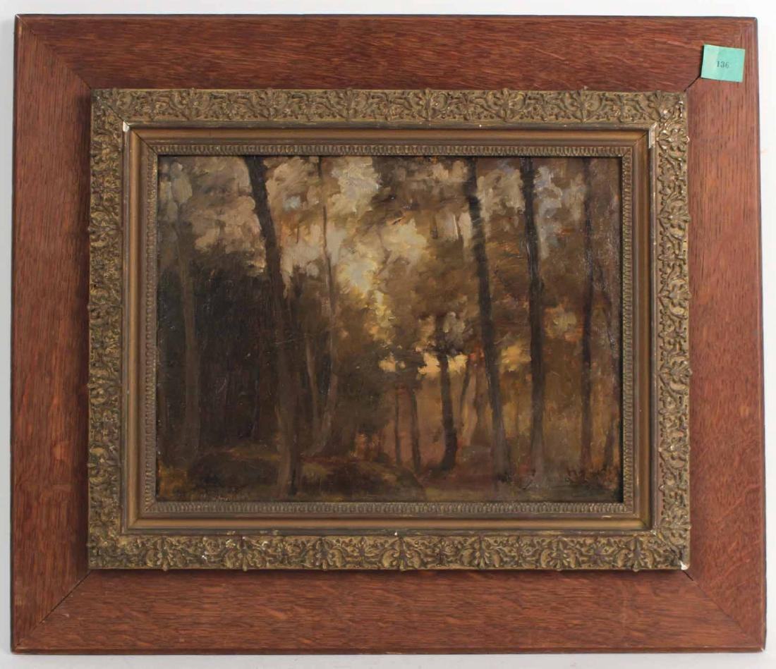 Oil on Board, Forest Scene, Eli Harvey