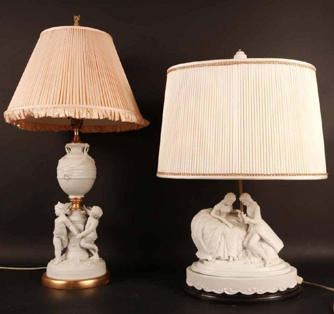 Two Neoclassical Style White Ceramic Table Lamps