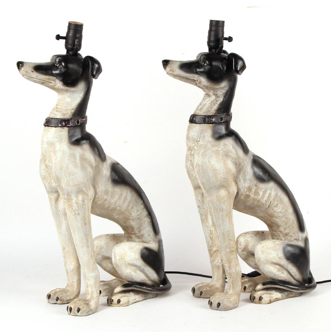 Pair of Painted Metal Whippet-Form Table Lamps