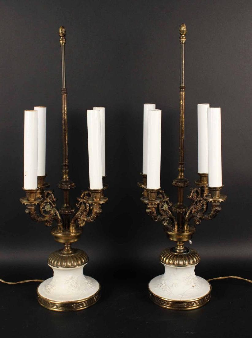 Pair of Neoclassical Style Porcelain Candelabra