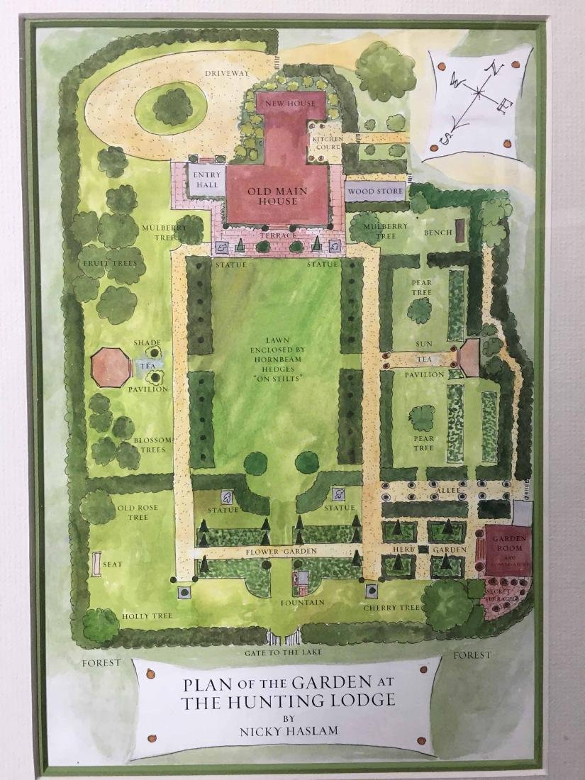 THREE GARDEN PLAN PRINTS