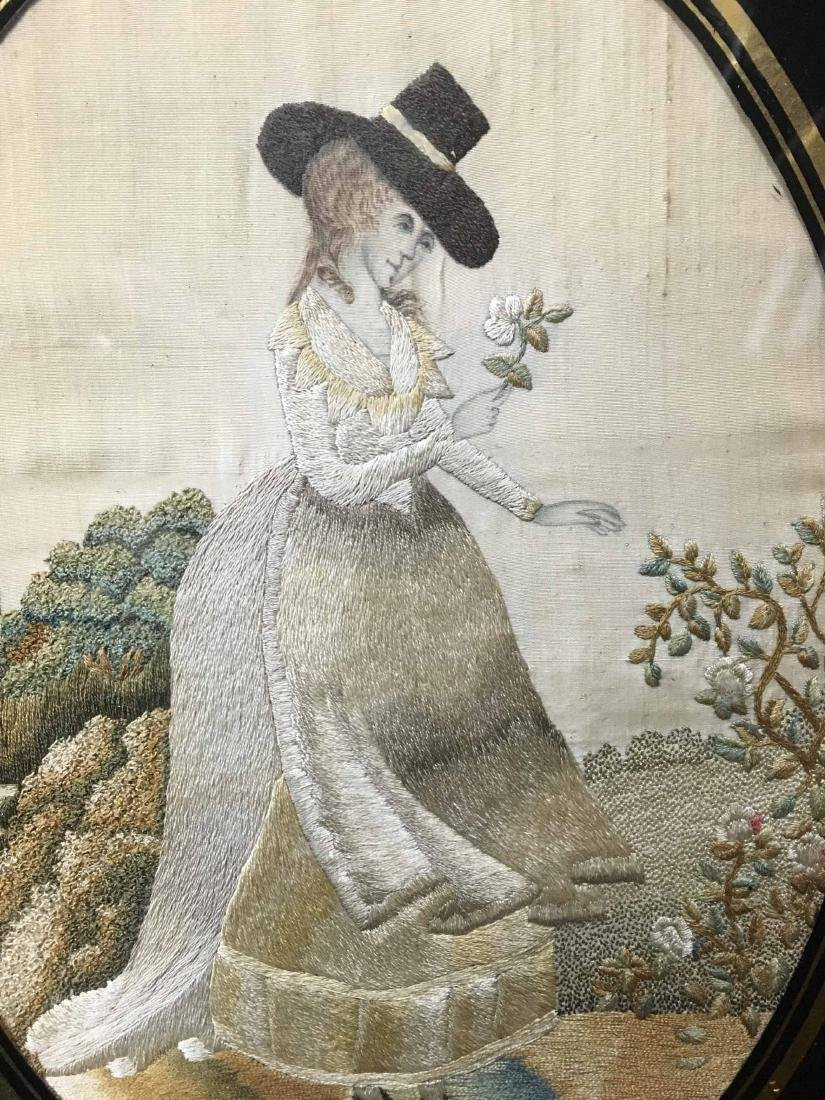 TWO FRAMED NEEDLEWORK ON SILK, FEMALE FIGURES