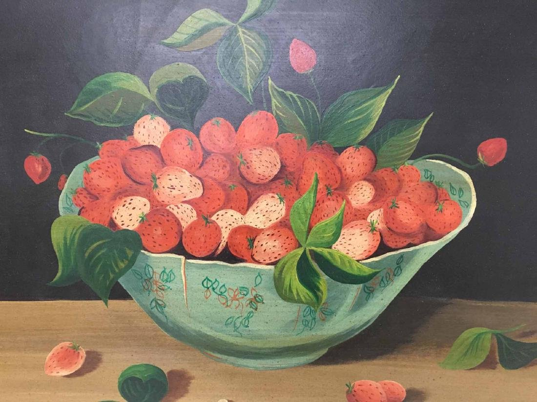 OIL ON BOARD OF STRAWBERRIES