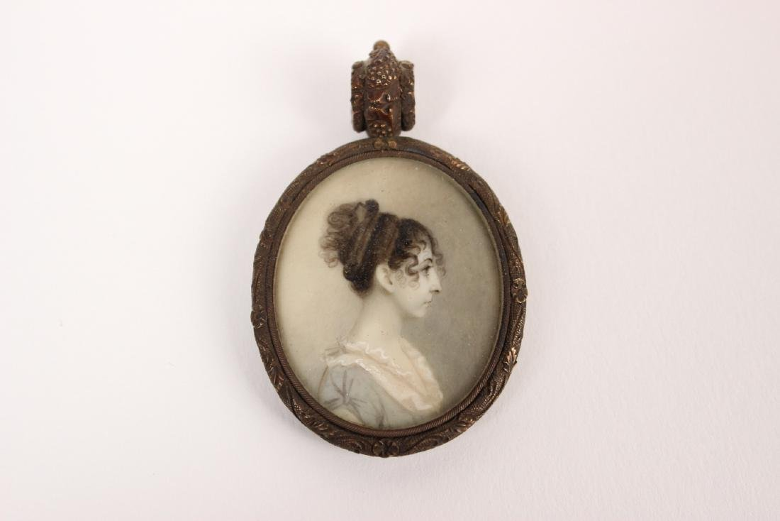 MINIATURE MOURNING PORTRAIT OF A LADY PENDANT