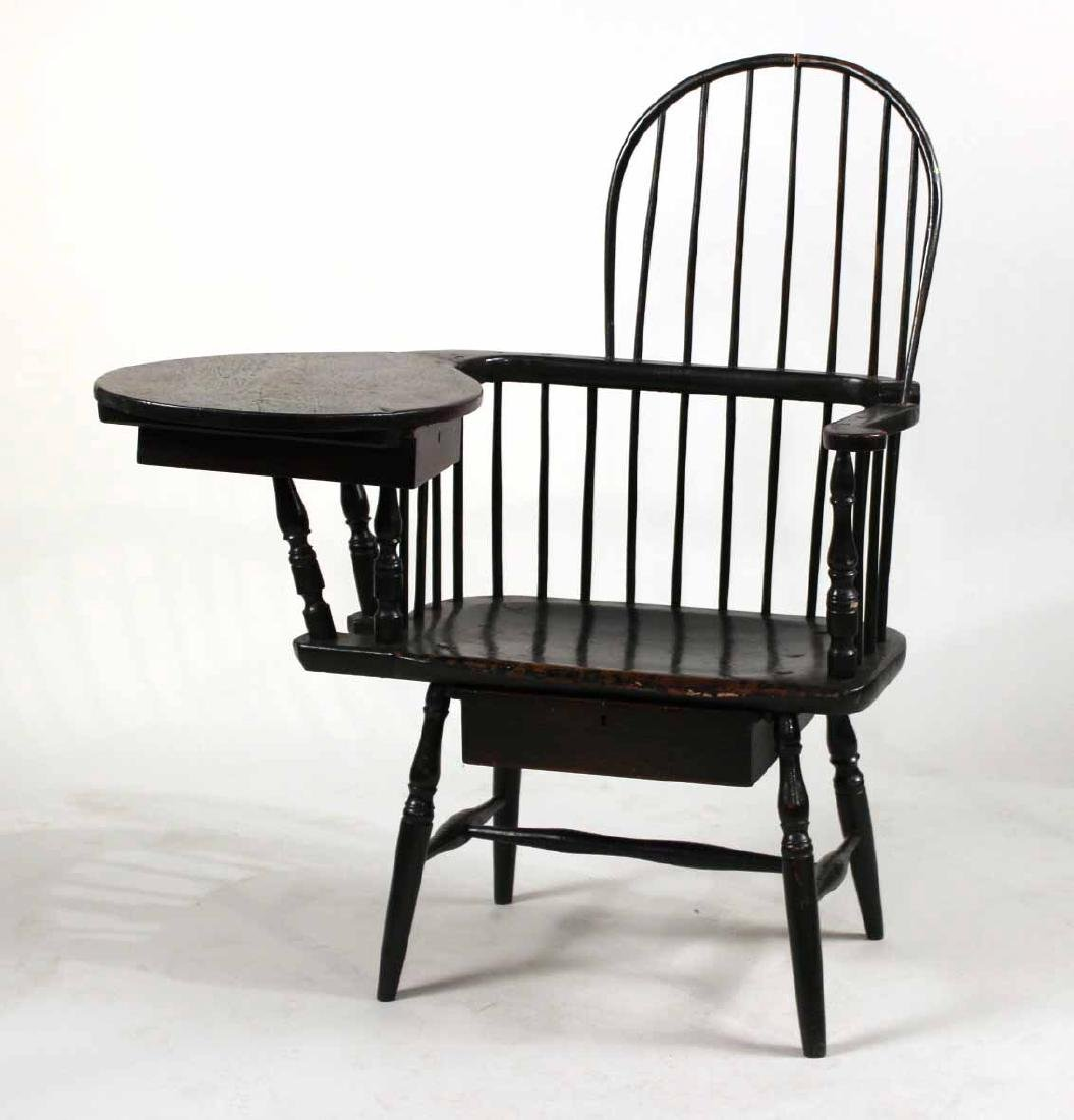 Green-Painted Windsor Writing Armchair