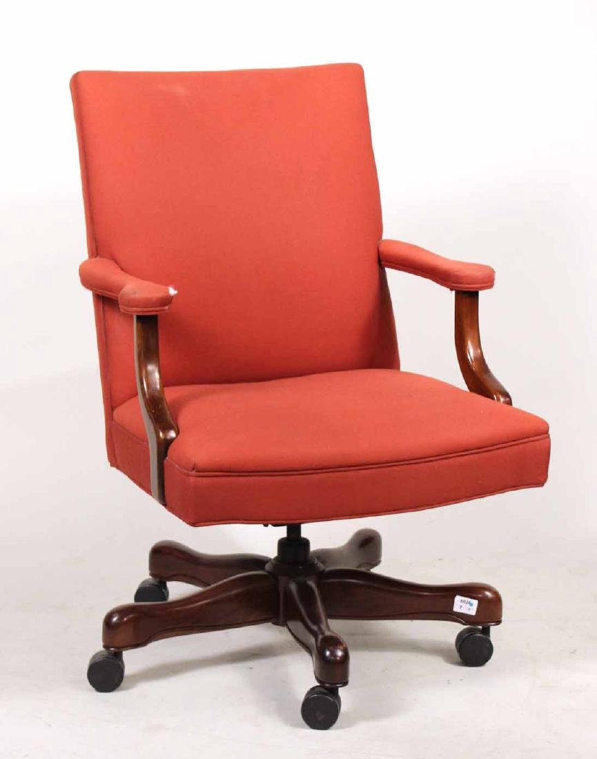 Red-Upholstered Mahogany Swivel Desk Chair