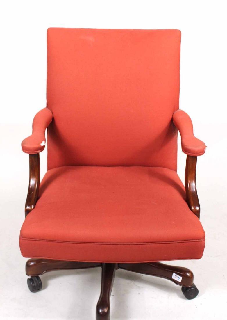 Red-Upholstered Mahogany Swivel Desk Chair - 3