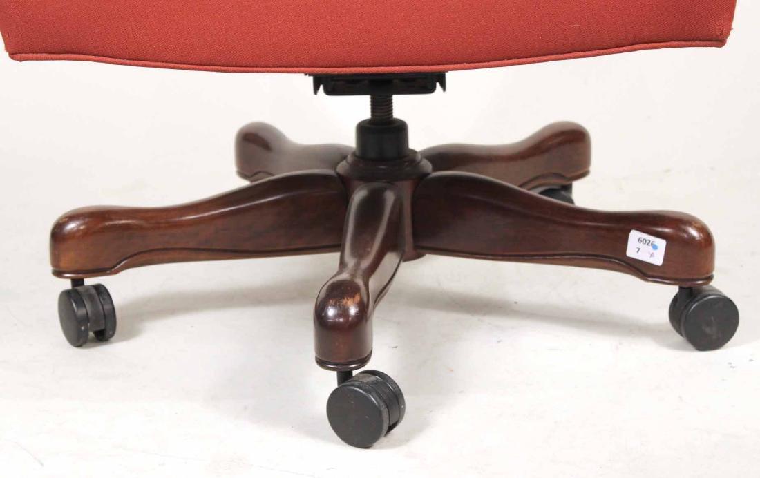 Red-Upholstered Mahogany Swivel Desk Chair - 4