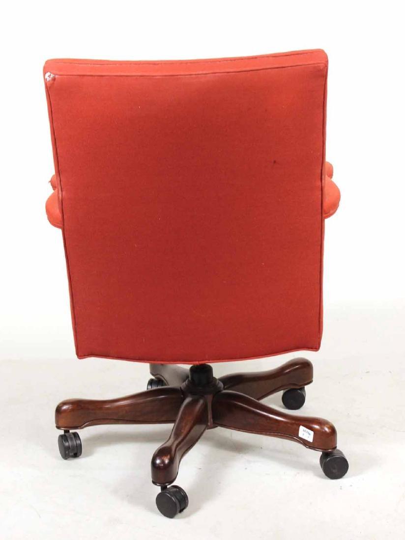 Red-Upholstered Mahogany Swivel Desk Chair - 5