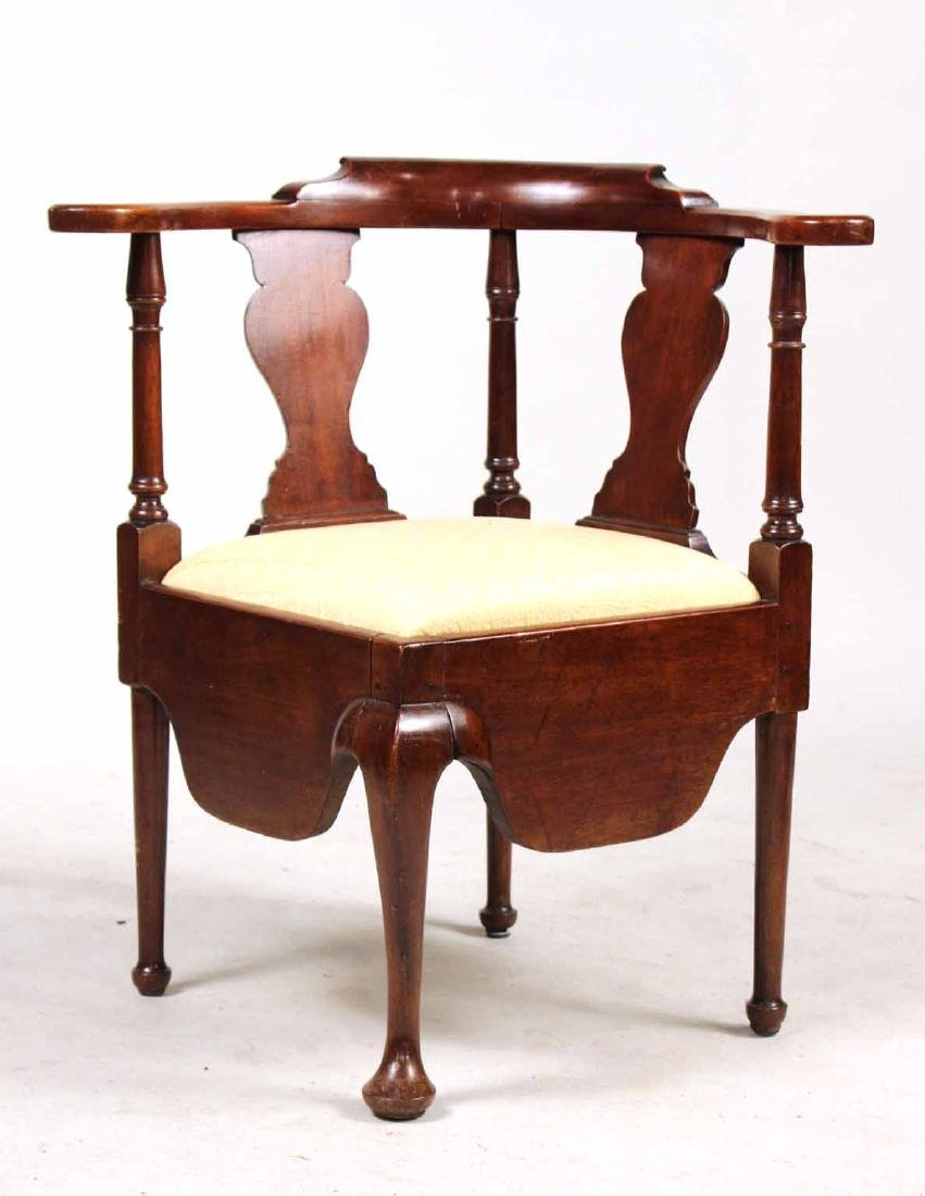 Queen Anne Mahogany Corner Commode Chair