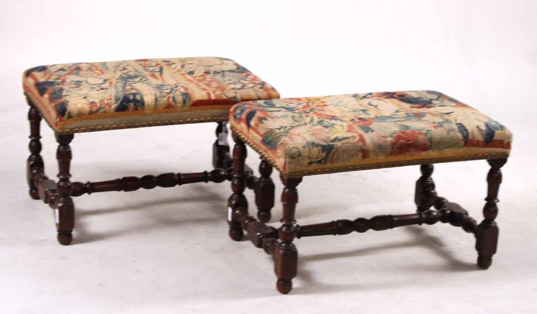Pair of William &Mary Style Turned Walnut Benches
