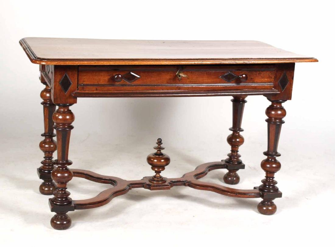 Baroque Part-Ebonized Walnut Pier Table