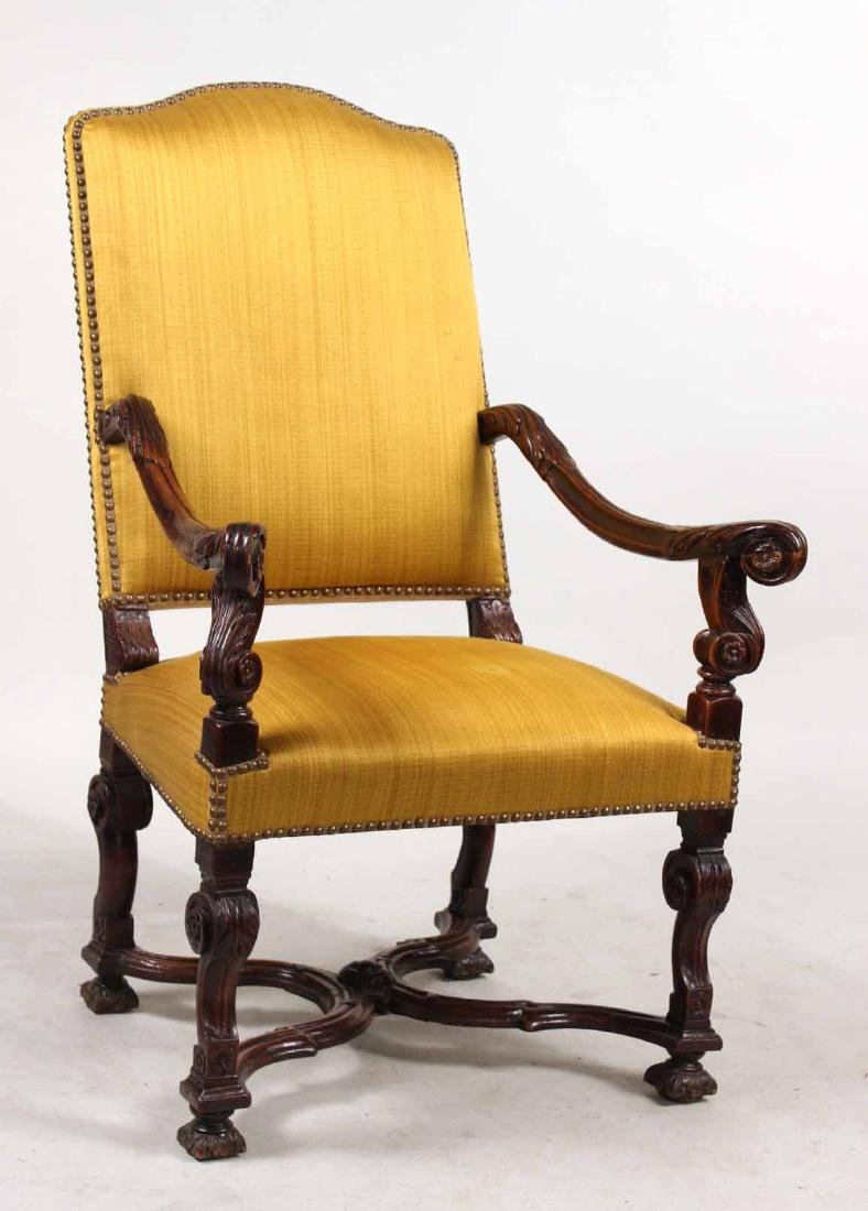 Baroque Carved Walnut Armchair