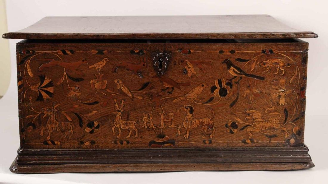 William and Mary Marquetry Oak Box - 2