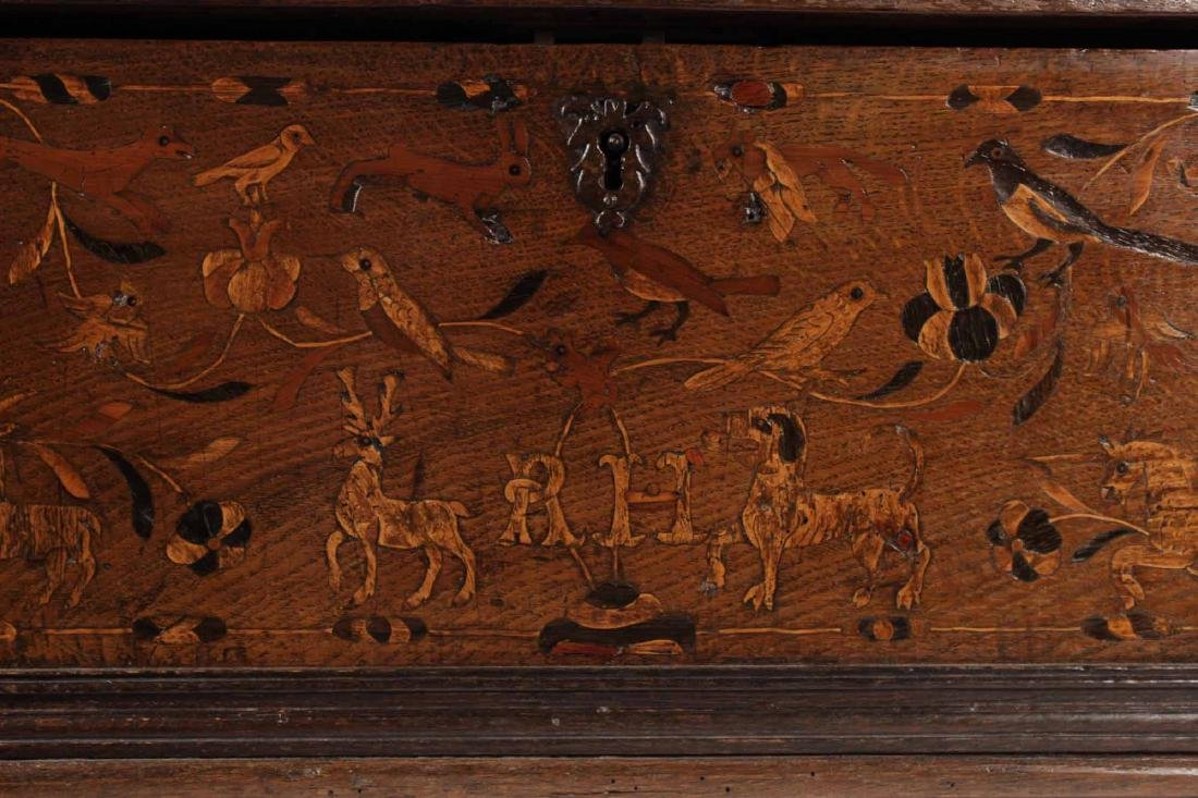 William and Mary Marquetry Oak Box - 3