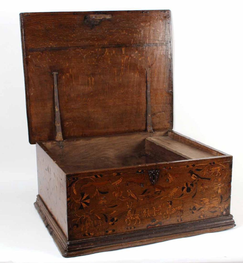 William and Mary Marquetry Oak Box - 8