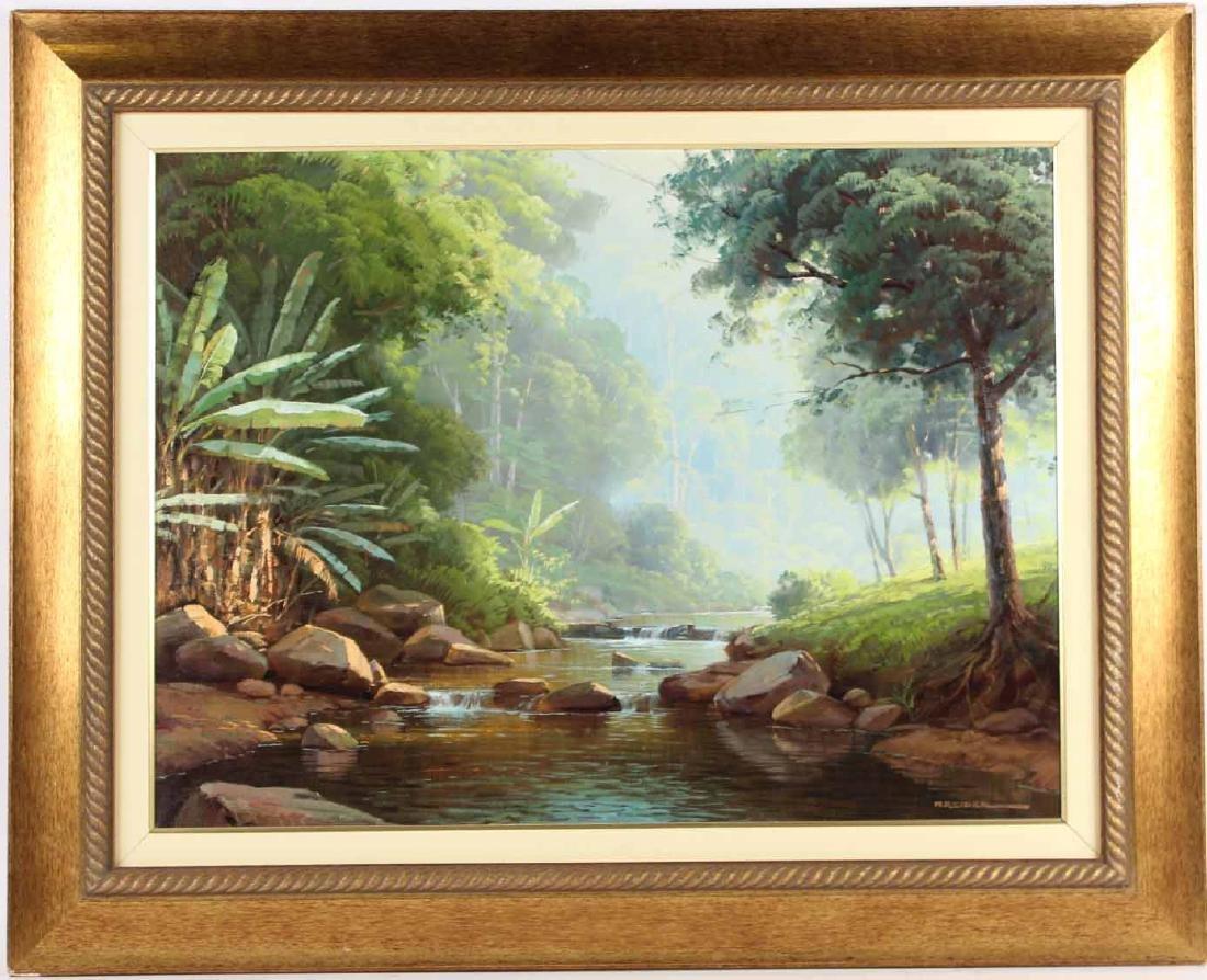 Oil on Canvas, Riverscape, Alexandre Reider