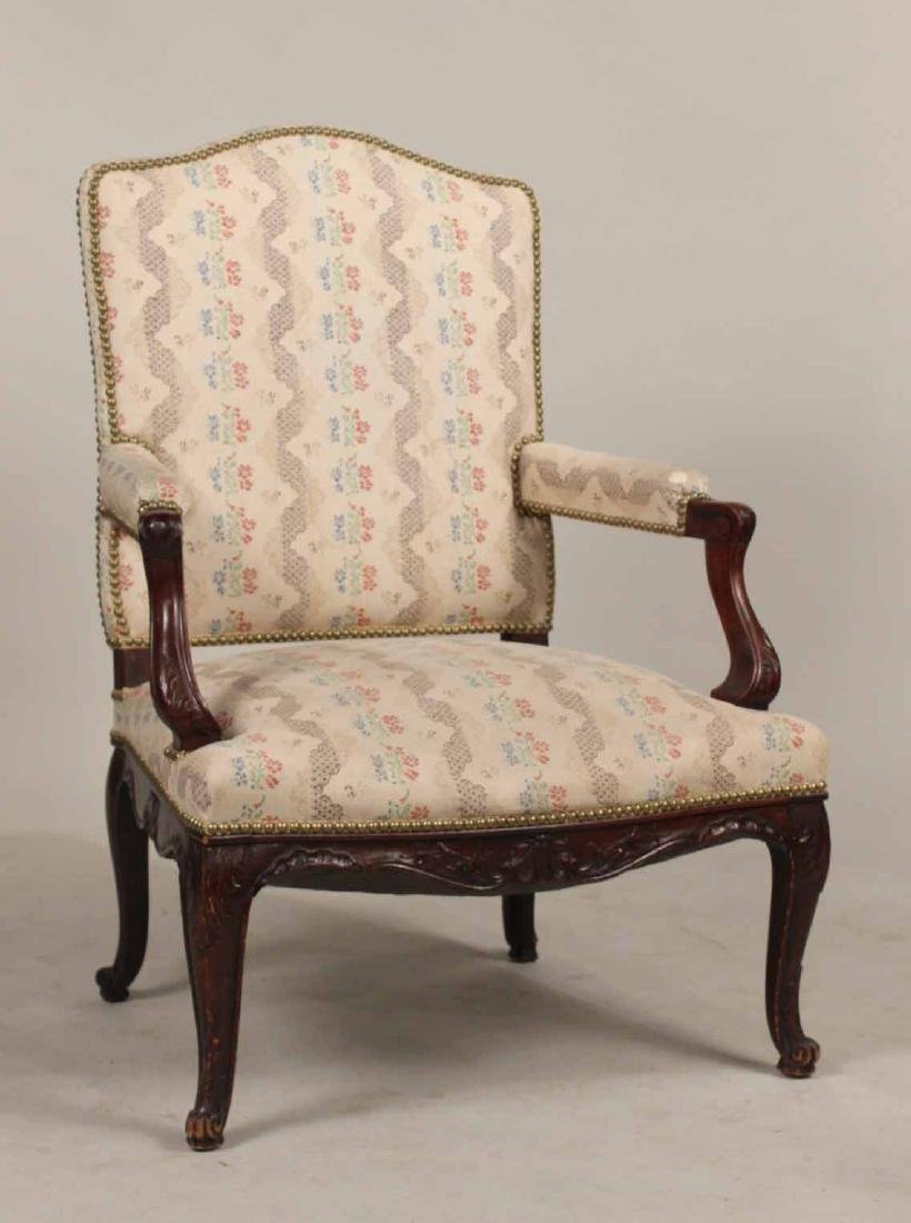 George II Style Carved Mahogany Armchair